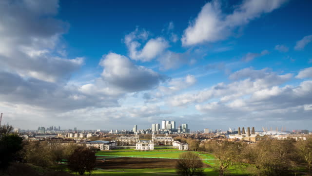london - circa 2013: time lapse of greenwich park from the observatory in a sunny and cloudy day in london - 2013点の映像素材/bロール