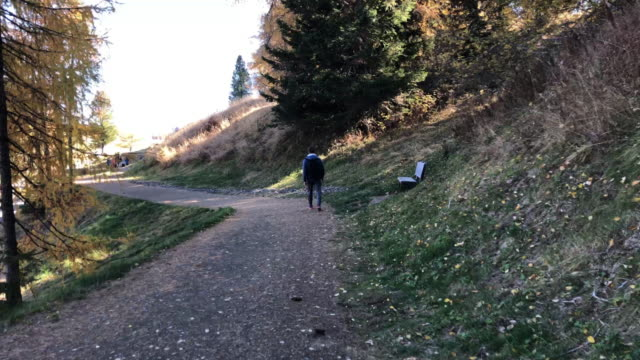 time lapse of guy walking in footpath visiting the alpe di siusi dolomites mountains. - siusi stock videos & royalty-free footage