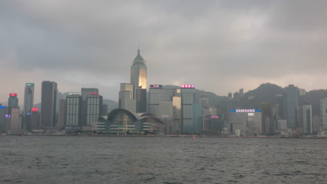 Time lapse of Hong Kong city skyline in China panorama