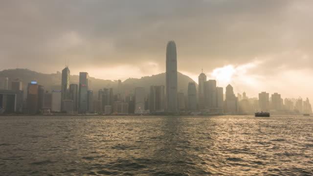 stockvideo's en b-roll-footage met timelapse van de skyline van hong kong in china panorama - hong kong