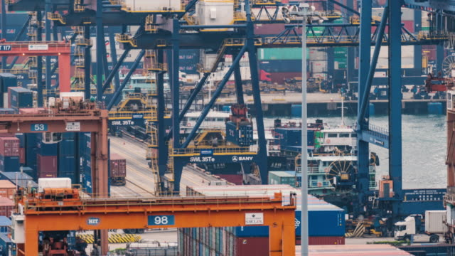 time lapse of hong kong port cargo transshipment hub and container transportation - industry stock videos & royalty-free footage