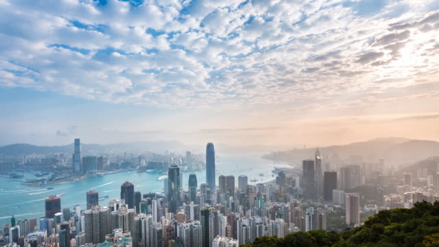 vídeos de stock, filmes e b-roll de time lapse of hong kong skyline and victoria harbor bathed in early morning sunlight - hong kong