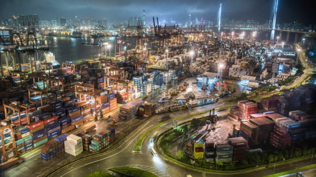 Time lapse of Hong Kong's commercial container port at night