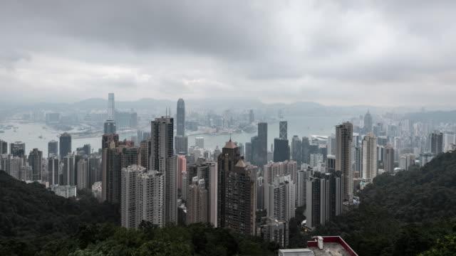 vídeos y material grabado en eventos de stock de time lapse of hongkong central at dawn - pico victoria