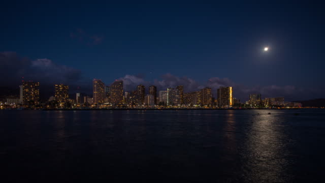 Time lapse of Honolulu downtown at night