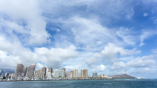time lapse of honolulu skyline with clouds move - honolulu stock videos and b-roll footage