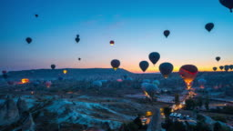 Time lapse of Hot air balloons at sunrise in Goreme, Cappadocia in Turkey.