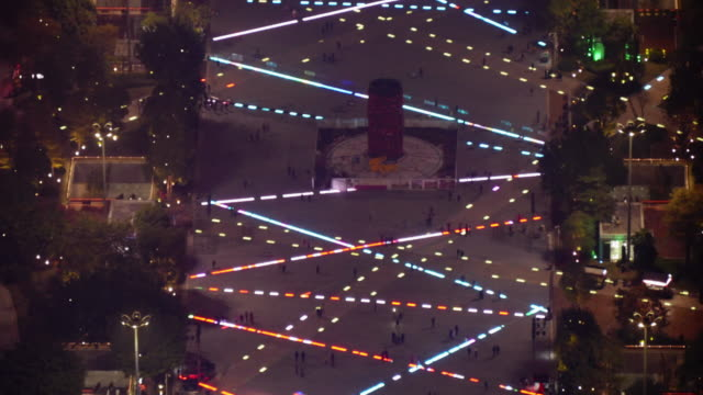 time lapse of huacheng square (flower city square) in guangzhou, china. aerial night shot, narrow - spoonfilm stock-videos und b-roll-filmmaterial