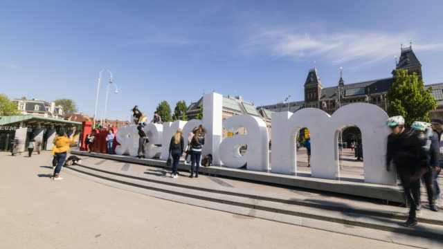 Time lapse of I Amsterdam sign and people outside the Rijksmuseum, Amsterdam, Netherlands