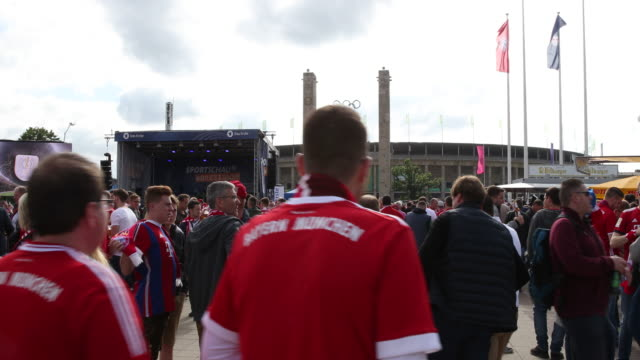 Time Lapse of in front of the stadium with the Olympic rings in the background ahead of the DFB Cup Final 2019 between RB Leipzig and Bayern Muenchen...