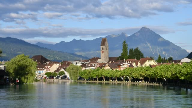 A time lapse of Interlaken at the river of Aare