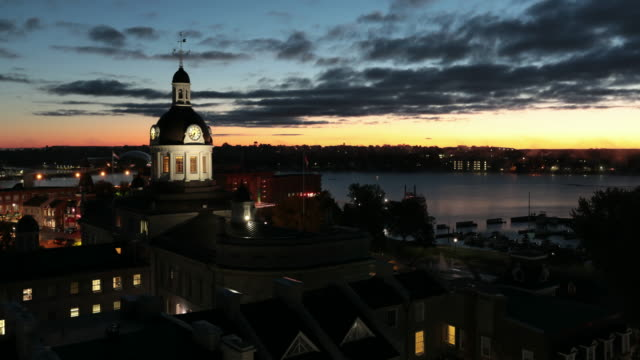 time lapse of kingston city hall, ontario, canada at sunrise - ontario canada stock videos & royalty-free footage