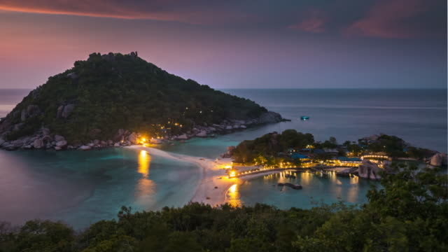 time lapse of koh nangyuan,panning shot - paesaggio marino video stock e b–roll