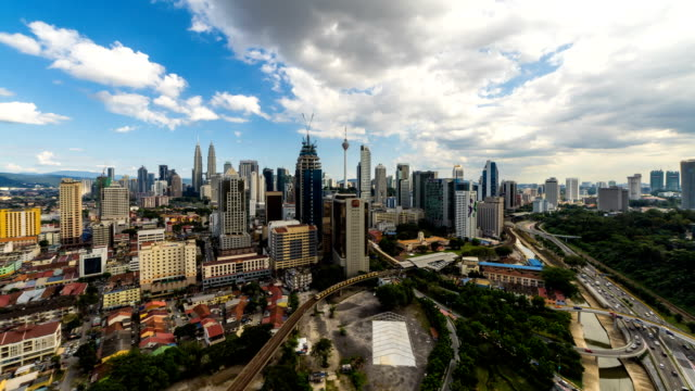 Time lapse of Kuala Lumpur skyline with blue skies and dancing clouds. 4K available.