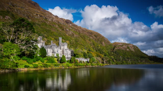 time lapse of kylemore abbey in ireland - stately home stock videos and b-roll footage