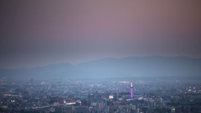 time lapse of kyoto sprawl - kyoto stock videos and b-roll footage