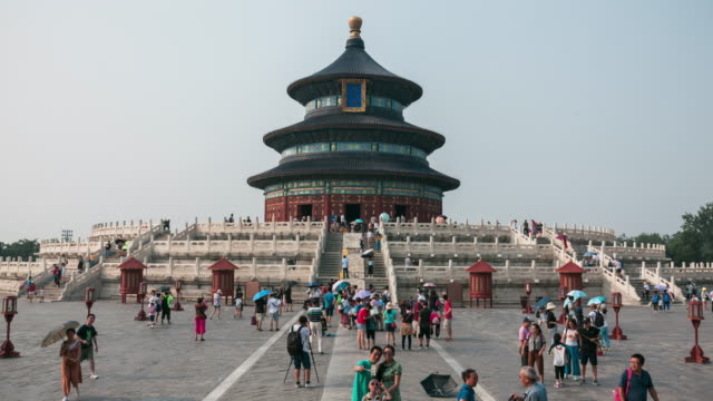 Time lapse of large crowds at Temple of Heaven