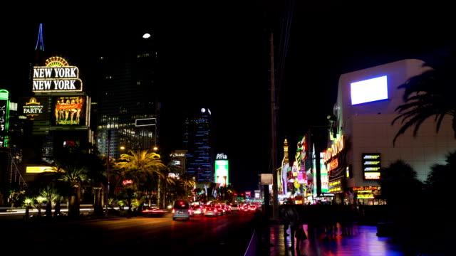 time lapse of las vegas around strip road at night - the strip las vegas stock videos & royalty-free footage
