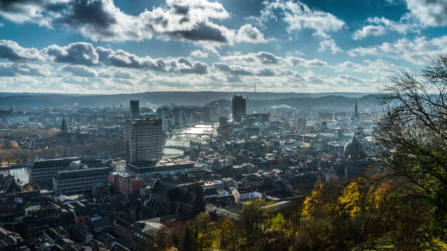 Time lapse of Liege Cityscape in Belgium