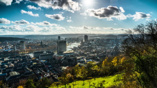 time lapse of liege cityscape in belgium - belgium stock videos & royalty-free footage