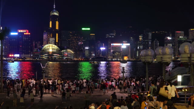 time lapse of light show in hong kong - hong kong island stock videos & royalty-free footage