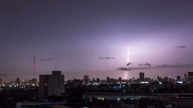 Time lapse of Lightning storm over city in purple light