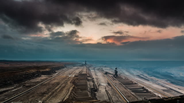 time lapse of lignite open pit mine - open cast mine stock videos & royalty-free footage