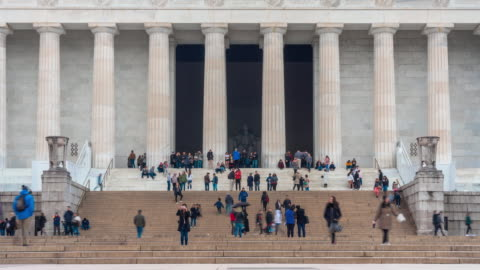 4k time lapse of lincoln memorial located on the national mall with people and tourist in washington, d.c., usa, architecture and attraction concept - washington monument washington dc stock videos & royalty-free footage