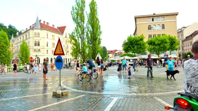 Zeitraffer von Ljubljana an heißen Sommertagen