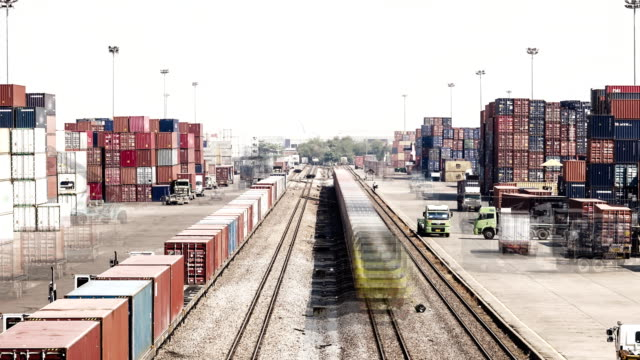 Time lapse of Logistics operation in railroad container yard.