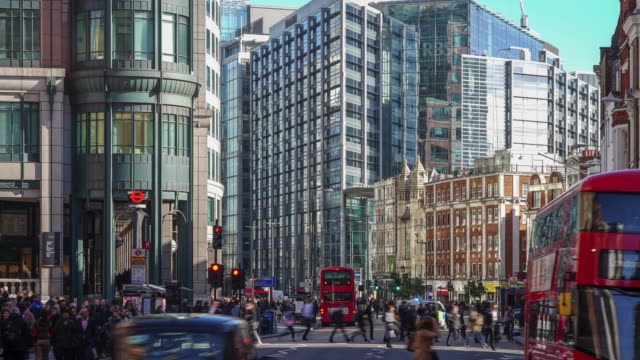 time lapse of london liverpool street  in the morning at 8.30am. - liverpool england stock videos & royalty-free footage