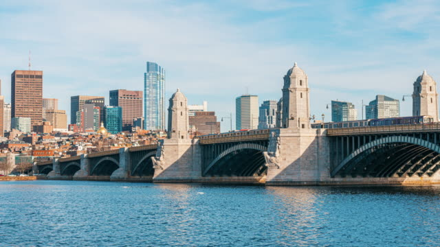 time lapse of longfellow bridge in boston - river charles stock videos & royalty-free footage