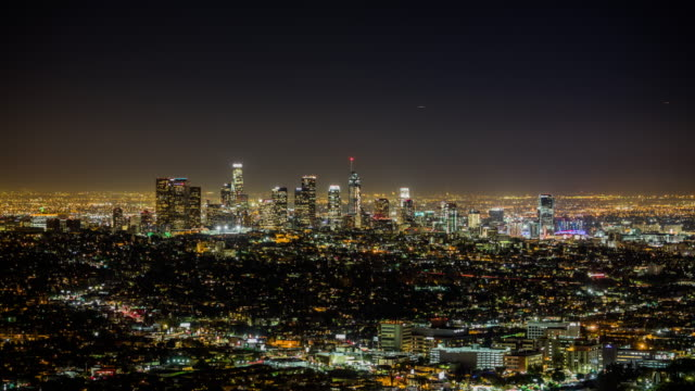 Time Lapse of Los Angeles skyline at night, California, USA