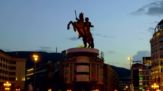 Time Lapse of Macedonia Square in Skopje - Macedonia