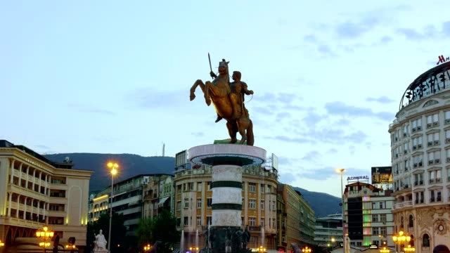 time lapse of macedonia square in skopje - macedonia - skopje stock videos and b-roll footage