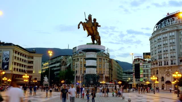time lapse of macedonia square in skopje - macedonia - peninsula stock videos and b-roll footage