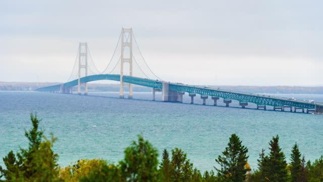 time lapse of mackinac bridge - light blue stock videos & royalty-free footage
