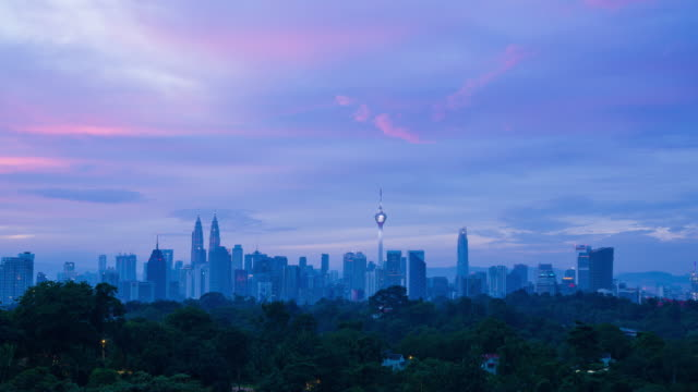 4K Time lapse of majestic sunrise over downtown Kuala Lumpur, Malaysia. Zoom In.