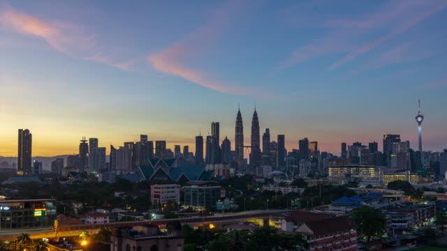 Time lapse of majestic sunrise over downtown Kuala Lumpur.