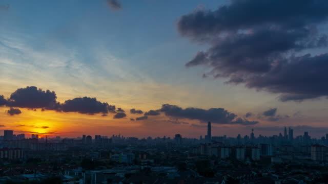 Time lapse of majestic sunset over downtown Kuala Lumpur, Malaysia.