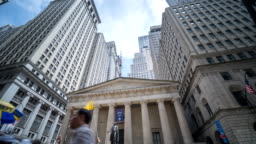 Time Lapse Of Manhattan Financial District Buildings In Wall Street