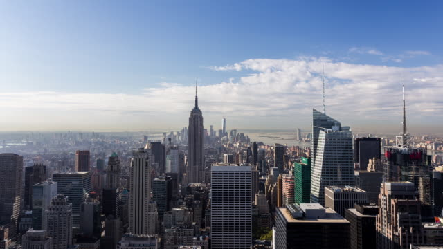 NEW YORK - CIRCA 2014: Time Lapse of Manhattan in a sunny and cloudy day from the Rockefeller