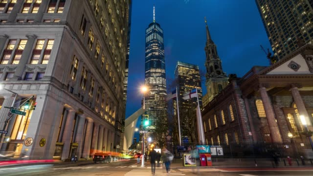 4k time lapse of manhattan new york cityscape with st. paul's chapel of trinity church at the twilight time, manhattan, new york city, usa, architecture and landmark with transportation concept - chapel stock videos & royalty-free footage