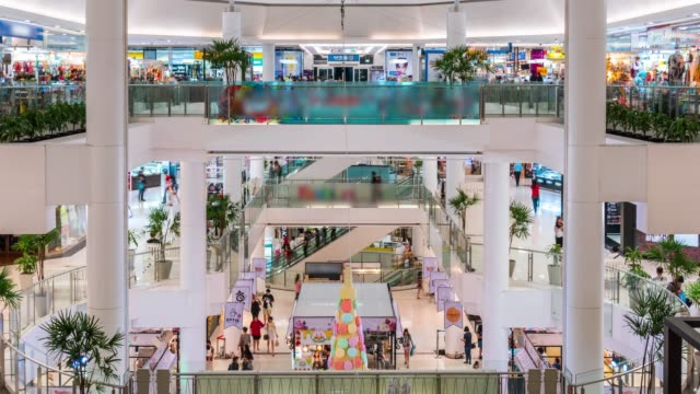 time lapse of many people in shopping mall - tradeshow stock videos & royalty-free footage