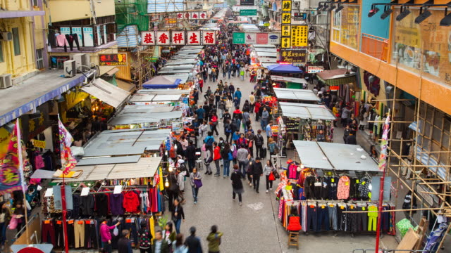 vídeos de stock, filmes e b-roll de time lapse of market street, mong kok, hong kong - mong kok