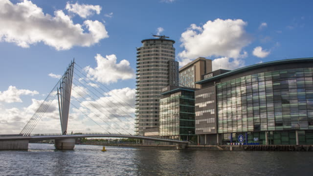 4K Time lapse of MediaCityUK in Salford, Manchester, with fast clouds