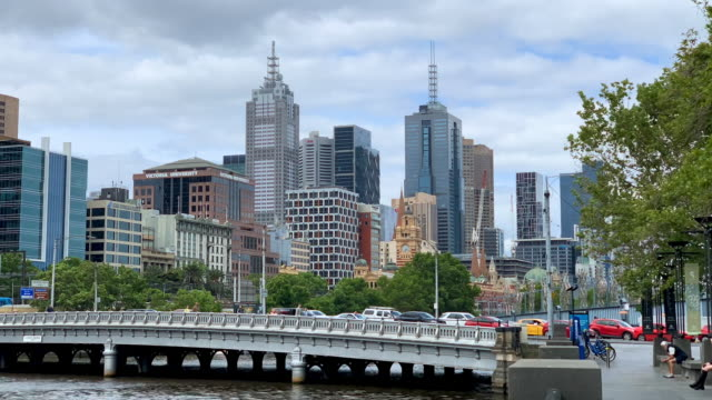 time lapse of melbourne, australia - footbridge stock videos & royalty-free footage