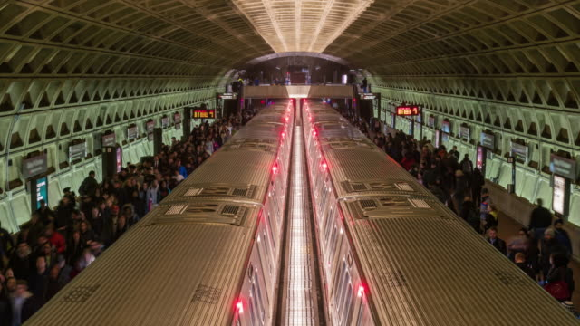 4k time lapse of metro train station, washington dc, united states - underground rail stock videos & royalty-free footage