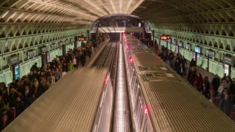 time lapse of metro train station, washington dc, united states - fast motion stock videos & royalty-free footage