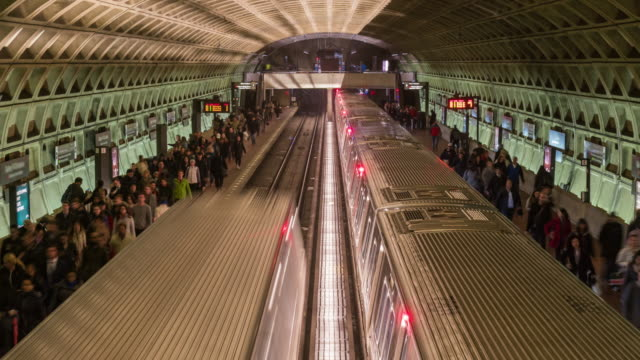 time lapse of metro train station, washington dc, united states - underground station platform stock videos & royalty-free footage